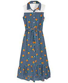 Monteau Pineapple-Print Maxi Shirtdress, Big Girls