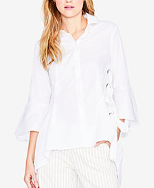 RACHEL Rachel Roy Bell-Sleeve Lace-Up Blouse, Created for Macy's