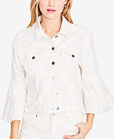 RACHEL Rachel Roy Floral-Print Denim Jacket, Created for Macy's