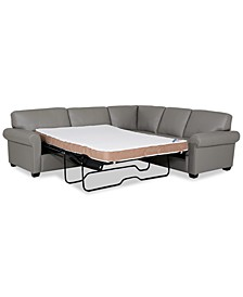 "Orid 2-Pc. Leather ""L""-Shaped Full Sleeper Sectional Sofa, Created for Macy's"
