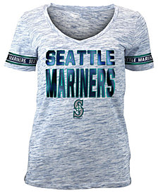 5th & Ocean Women's Seattle Mariners Plus Space Dye Sleeve T-Shirt