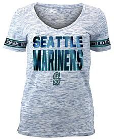 5th & Ocean Women's Seattle Mariners Plus Space Dye Sleeve T-Shirt