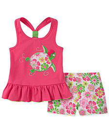 Kids Headquarters 2-Pc. Turtle Tank Top & Floral-Print Shorts Set, Little Girls