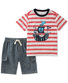 Kids Headquarters 2-Pc. Striped Cotton T-Shirt & Shorts Set, Toddler Boys