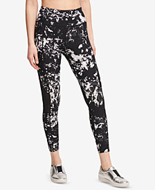 DKNY Sport Splatter-Print High-Waist Ankle Leggings