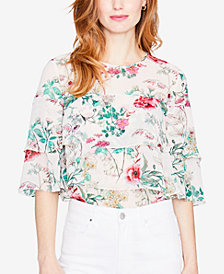 RACHEL Rachel Roy Floral-Print Tiered Top, Created for Macy's