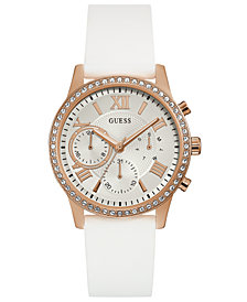 GUESS Women's White Silicone Strap Watch 40mm