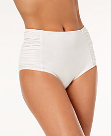 MICHAEL Michael Kors Ruched High-Waist Bikini Bottoms