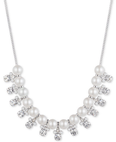 Givenchy Silver-Tone Imitation Pearl & Crystal Statement Necklace, 16