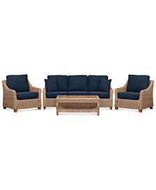 Willough Wicker Outdoor 4-Pc. Set (1 Sofa, 2 Club Chairs & 1 Coffee Table) with Custom Sunbrella® Colors, Created For Macy's