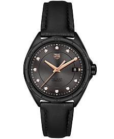 TAG Heuer Women's Swiss Formula 1 Diamond-Accent Black Leather Strap Watch 35mm