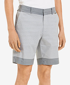 "Calvin Klein Men's Slim-Fit Flat-Front Striped 9 "" Shorts"