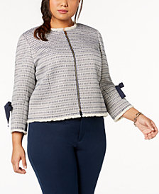 Tahari ASL Plus Size Fringe-Trim Jacket