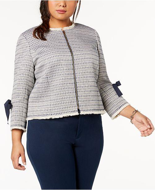 4eae1902754 Tahari ASL Plus Size Fringe-Trim Jacket - Jackets   Blazers - Women ...