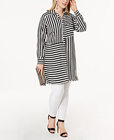 I.N.C. Plus Size Striped Tunic, Created for Macy's