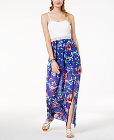 BCX Juniors' Lace-Bodice Printed Maxi Dress