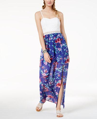 BCX Juniors' Lace-Bodice Printed Maxi Dress