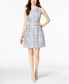 Donna Ricco Damask Jacquard Fit & Flare Dress