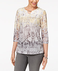 Alfred Dunner Petite Printed Lace Keyhole Top