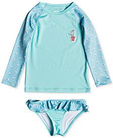 Roxy 2-Pc. Floral-Print Rash Guard Swim Set, Little Girls