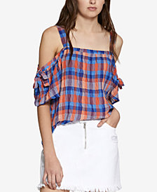 Sanctuary Dawn Cotton Plaid Cold-Shoulder Top