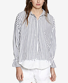 Sanctuary Hazel Boy Cotton Striped Tie-Back Shirt