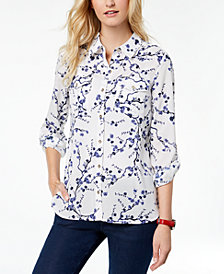 Tommy Hilfiger Printed Roll-Tab-Sleeve Shirt