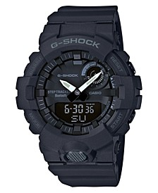 Men's Analog-Digital Black Resin Strap Step Tracker Watch 48.6mm