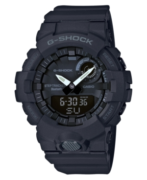 G-Shocks arresting black analog-digital timepiece offers a wide range of timekeeping functions as well as wireless syncing and advanced fitness tracking metrics. Style #GBA800-1A