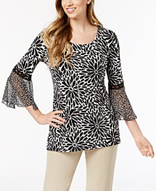 JM Collection Bell-Sleeve Necklace Top, Created for Macy's