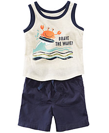 First Impressions Wave-Print Tank Top & Shorts, Baby Boys, Created for Macy's