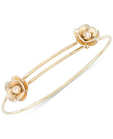 Tri-Colour Flower Slide Bangle Bracelet in 14k Gold, White Gold & Rose Gold