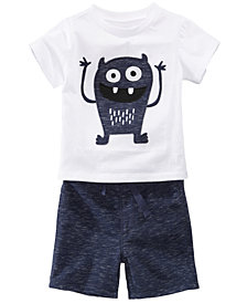 First Impressions Monster-Print T-Shirt & Marled Shorts, Baby Boys, Created for Macy's