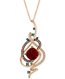 "Exotics® Crazy Collection® Pomegranate Garnet™ (4-1/2 ct. t.w.) & Diamond (3/4 ct. t.w.) 18"" Pendant Necklace in 14k Rose Gold"