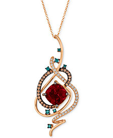 "Le Vian Exotics® Crazy Collection® Pomegranate Garnet™ (4-1/2 ct. t.w.) & Diamond (3/4 ct. t.w.) 18"" Pendant Necklace in 14k Rose Gold"