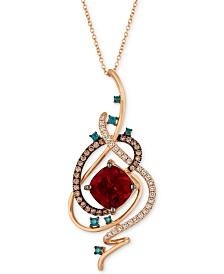 "Le Vian Exotics® Crazy Collection® Pomegranate Garnet™ (4-1/2 ct. t.w.) & Diamond (3/4 ct. t.w.) 18"" Pendant Necklace in 14k Rose Gold"