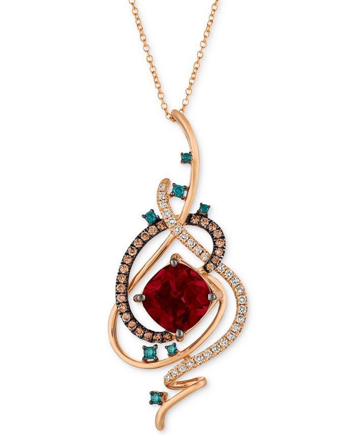 "Le Vian - Pomegranate Garnet™ (4-1/2 ct. t.w.) & Diamond (3/4 ct. t.w.) 18"" Pendant Necklace in 14k Rose Gold"