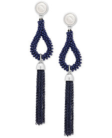 Lucky Brand Silver-Tone Stone, Bead & Fringe Drop Earrings, Created for Macy's