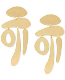 Lucky Brand Gold-Tone Satin Texture Statement Drop Earrings