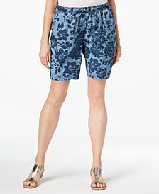 Karen Scott Petite Printed Chambray Shorts, Created for Macy's