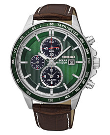 Seiko Men's Solar Chronograph Brown Leather Strap Watch 42.8mm