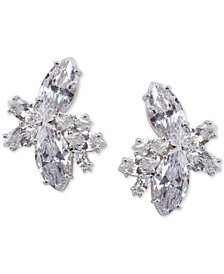 Nina Silver-Tone Crystal Cluster Flower Stud Earrings