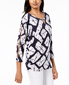 JM Collection Petite Printed Split-Sleeve Keyhole Tunic, Created for Macy's