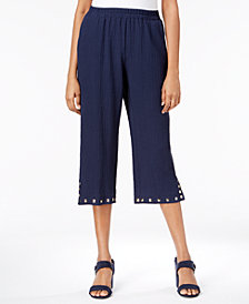JM Collection Studded-Hem Pull-On Cropped Pants, Created for Macy's