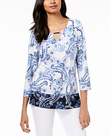JM Collection Petite Printed Jacquard Keyhole Top, Created for Macy's