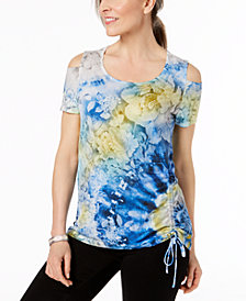 JM Collection Printed Drawstring Cold-Shoulder Top, Created for Macy's