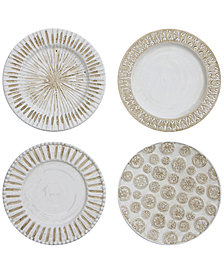 3R Studio Round Decorative Ceramic Wall Plates, Set of 4
