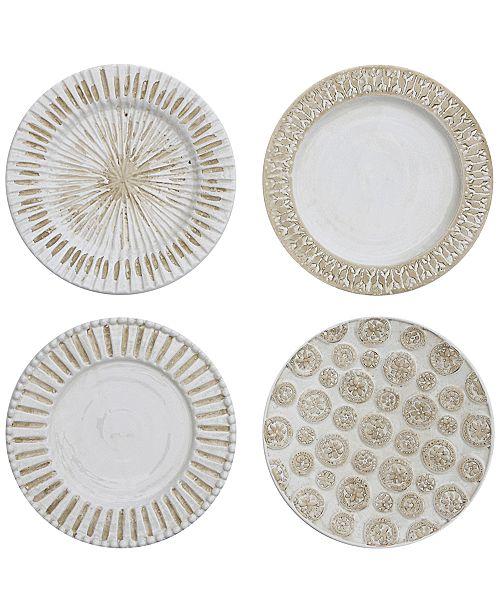 Round Decorative Ceramic Wall Plates Set Of 4