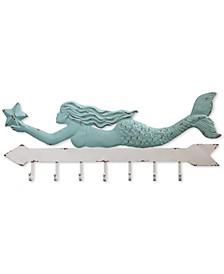 Metal Mermaid Coat-Hook Wall Hanging