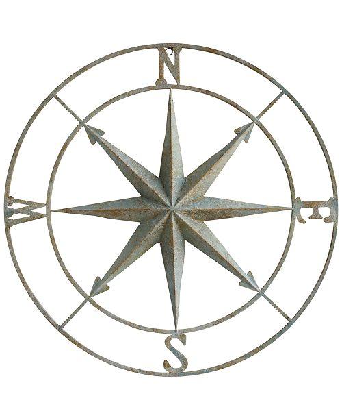3R Studio  Round Metal Compass Wall Décor